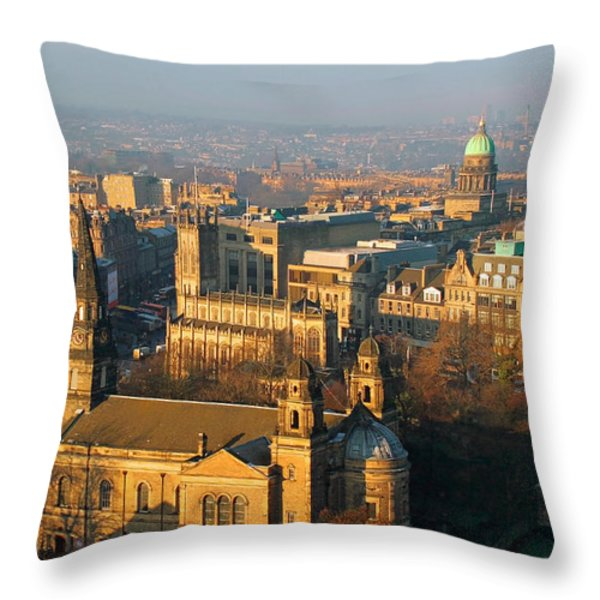 Edinburgh on a Winter's Day Throw Pillow by Christine Till