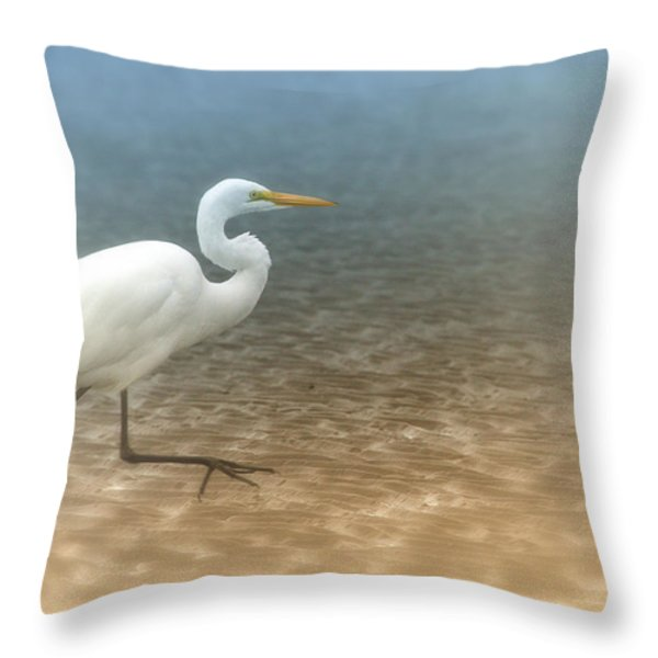 Egret Stroll Throw Pillow by Karol Livote