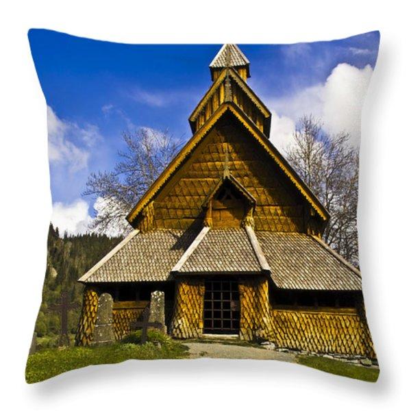 Eidsborg Stave Church  Throw Pillow by Heiko Koehrer-Wagner