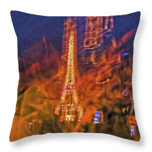 Eiffel On Bastille Day Abstract Throw Pillow by Tony Grider