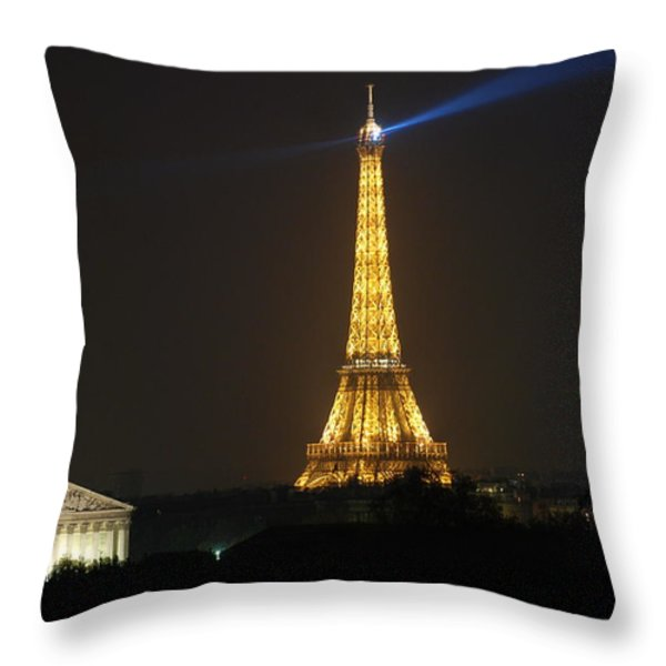 Eiffel Tower at Night Throw Pillow by Jennifer Lyon