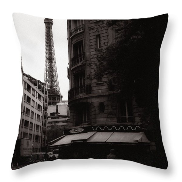 Eiffel Tower Black and White 2 Throw Pillow by Andrew Fare