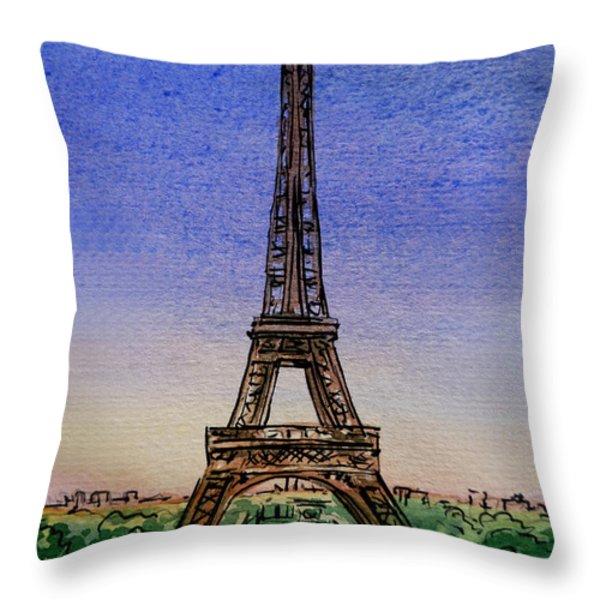 Eiffel Tower Paris France Throw Pillow by Irina Sztukowski