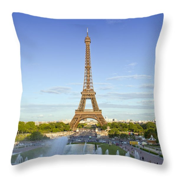 Eiffel Tower With Fontaines Throw Pillow by Melanie Viola