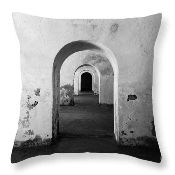 El Morro Fort Barracks Arched Doorways San Juan Puerto Rico Prints Black and White Throw Pillow by Shawn O'Brien