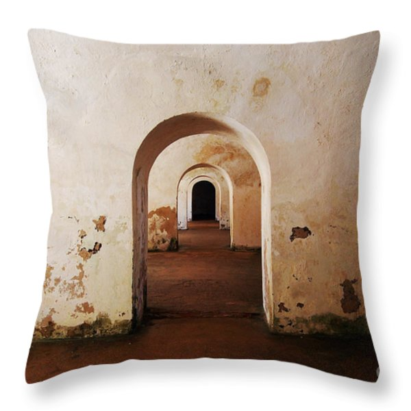 El Morro Fort Barracks Arched Doorways San Juan Puerto Rico Prints Throw Pillow by Shawn O'Brien
