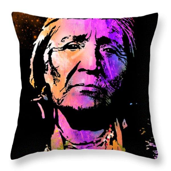 Elderly Hupa Woman Throw Pillow by Paul Sachtleben