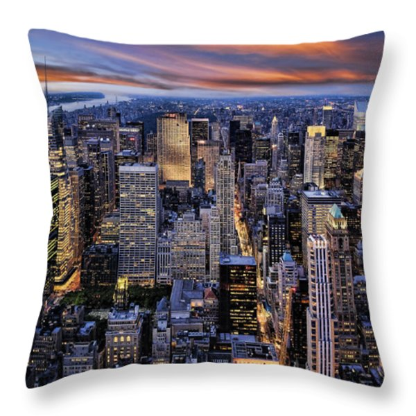 Electric NYC Throw Pillow by Kelley King