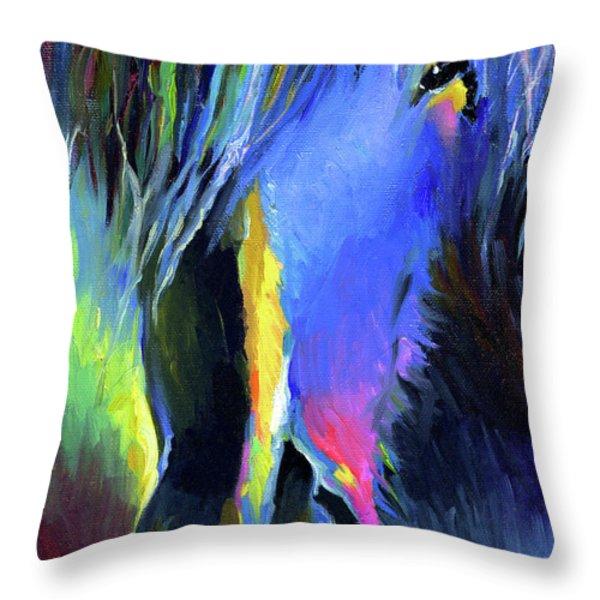 electric Stallion horse painting Throw Pillow by Svetlana Novikova