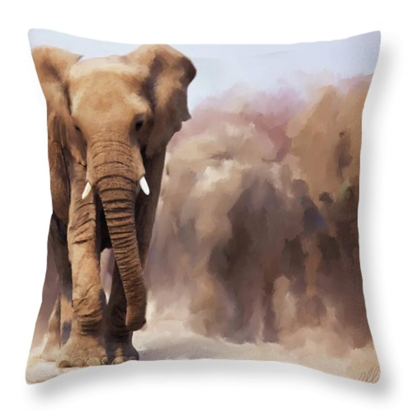 Elephant Painting Throw Pillow by Michael Greenaway