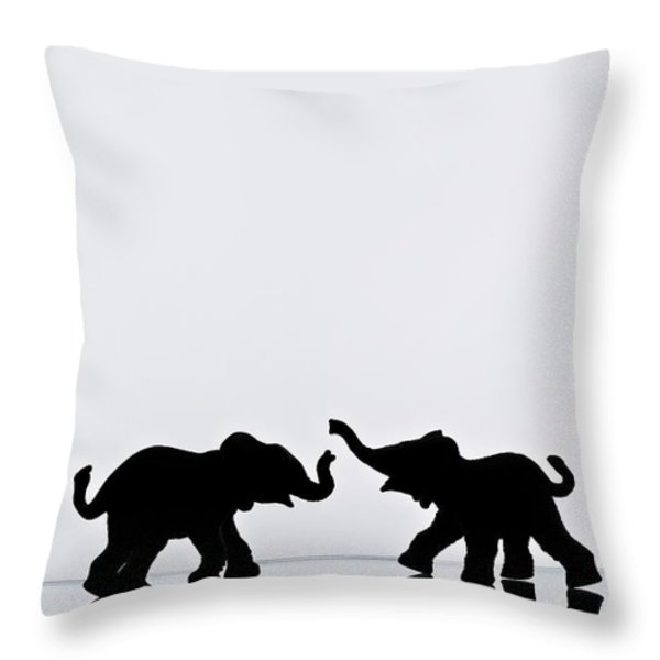 Elephant Pair Reflection Throw Pillow by Chris Knorr