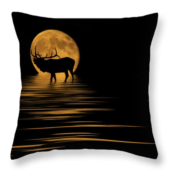 Elk In The Moonlight Throw Pillow by Shane Bechler