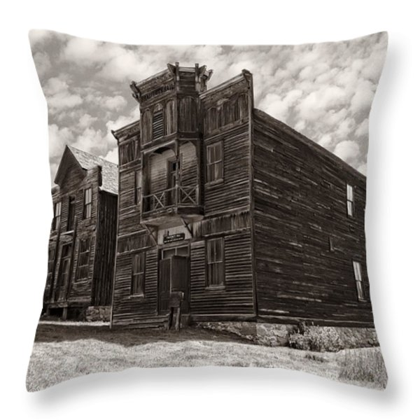 ELKHORN GHOST TOWN PUBLIC HALLS 3 - MONTANA Throw Pillow by Daniel Hagerman
