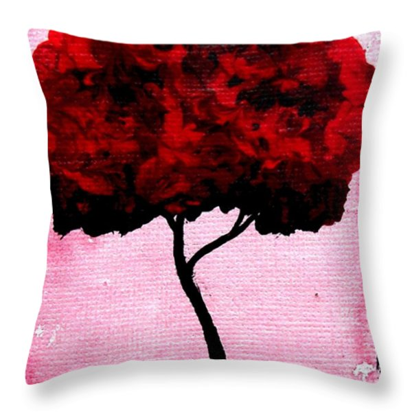 Emily's Trees Red Throw Pillow by Lizzy Love of Oddball Art Co