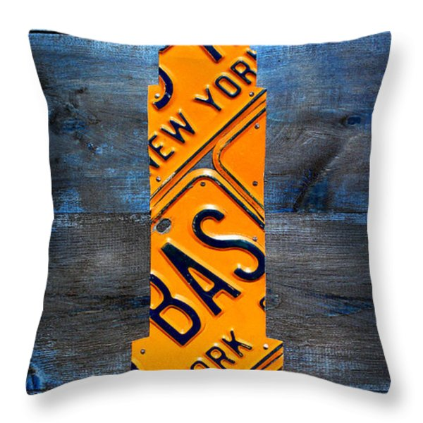Empire State Building Nyc License Plate Art Throw Pillow by Design Turnpike