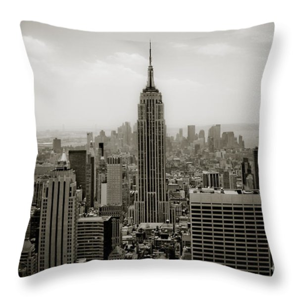 Empire State Throw Pillow by Ken Marsh