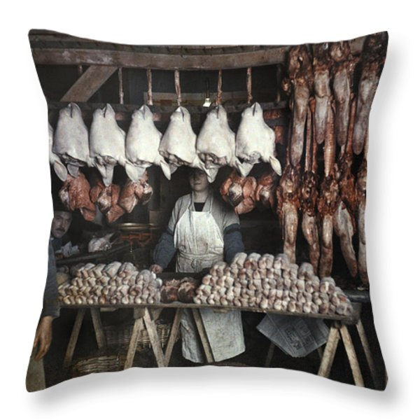Employees Sell Cuts Of Meat Throw Pillow by Gervais Courtellemont