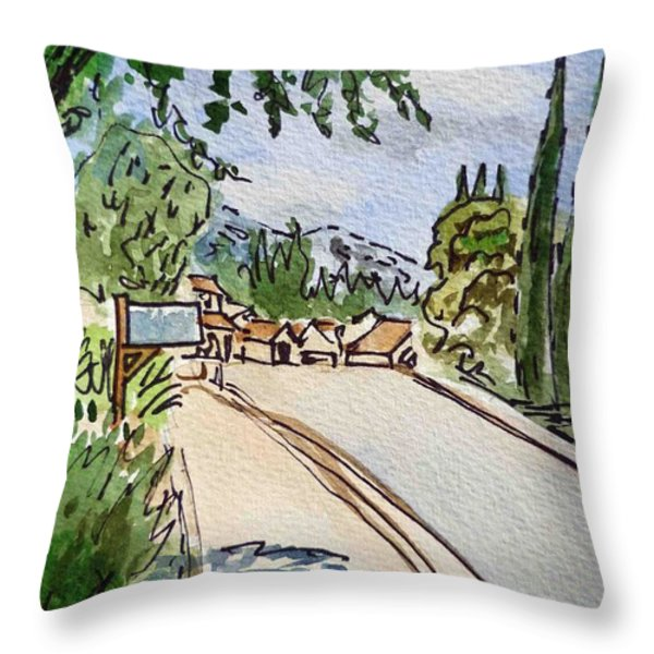 Empty Road Sketchbook Project Down My Street Throw Pillow by Irina Sztukowski