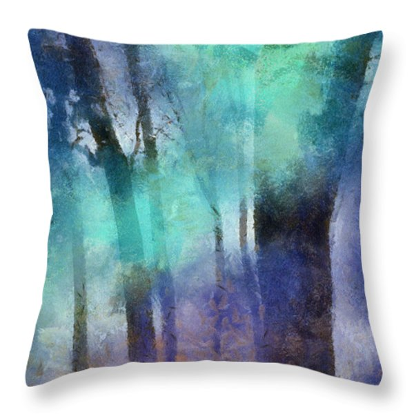 Enchanted Forest. Painting with Light Throw Pillow by Jenny Rainbow