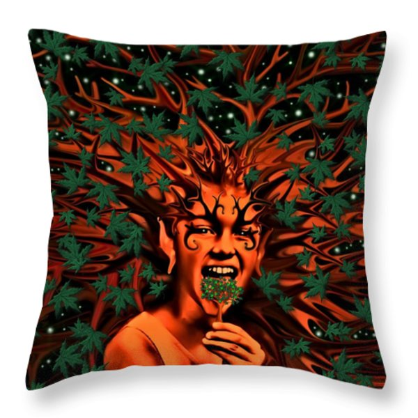 Enchanted Tree Sprite With Leaves Throw Pillow by Tisha McGee