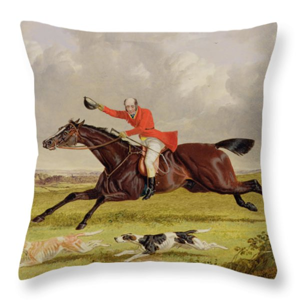 Encouraging Hounds Throw Pillow by John Frederick Herring Snr