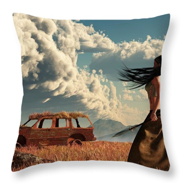 End Of The Road Throw Pillow by Daniel Eskridge