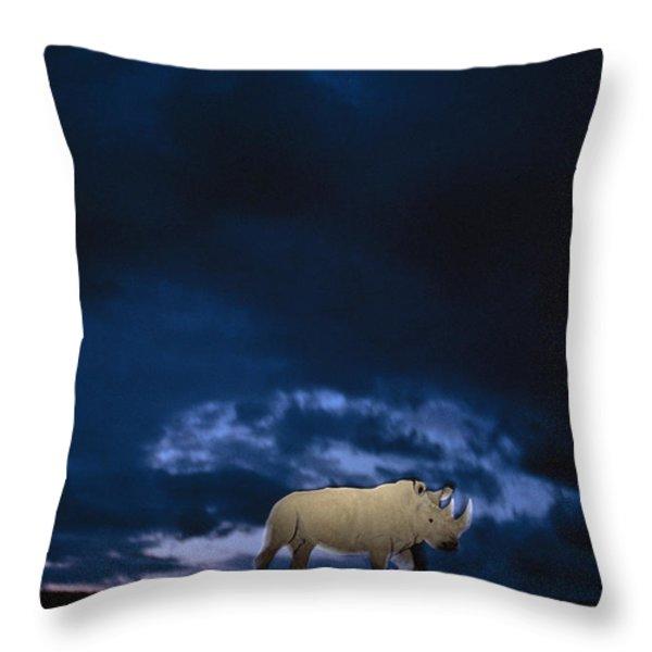 Endangered Northern White Rhinoceros Throw Pillow by Michael Nichols