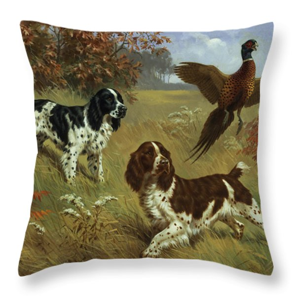 Energetic English Springer Spaniels Throw Pillow by Walter A. Weber