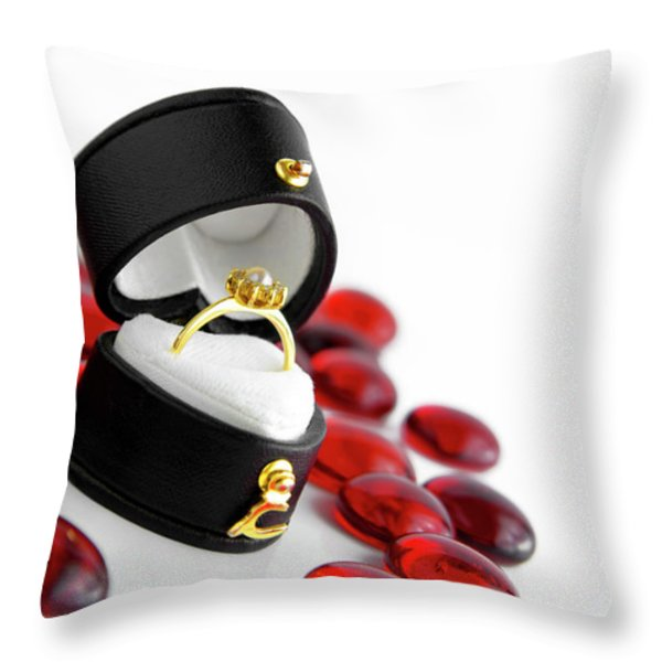 Engagement Ring Throw Pillow by Carlos Caetano