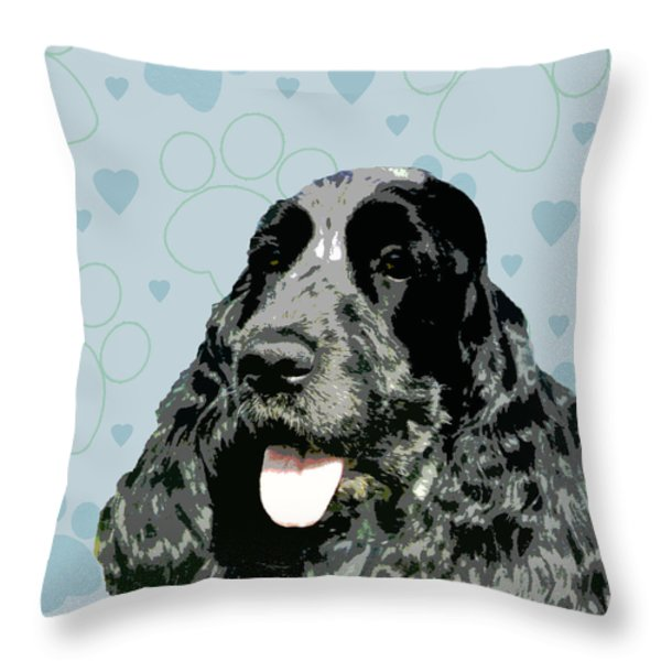 English Cocker Spaniel Throw Pillow by One Rude Dawg Orcutt