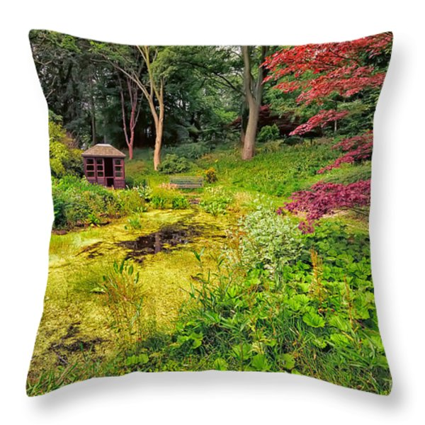 English Garden  Throw Pillow by Adrian Evans