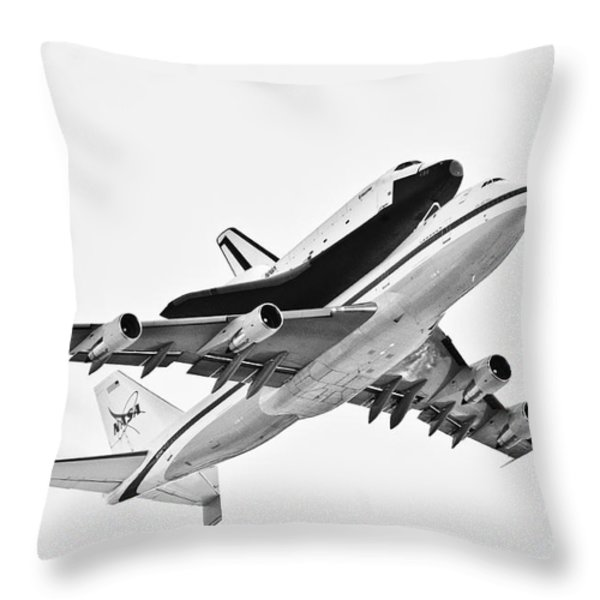Enterprise Shuttle NY Flyover Throw Pillow by Regina Geoghan