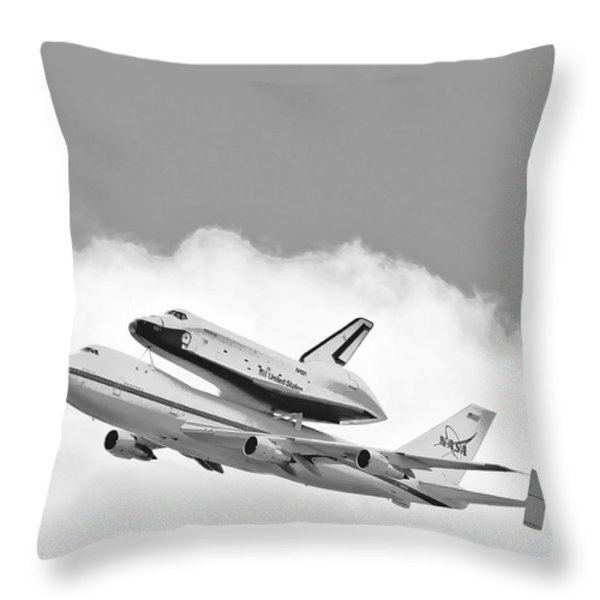 Enterprise Shuttle Over NY Throw Pillow by Regina Geoghan