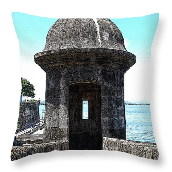 Entrance To Sentry Tower Castillo San Felipe Del Morro Fortress San Juan Puerto Rico Poster Edges Throw Pillow by Shawn O'Brien
