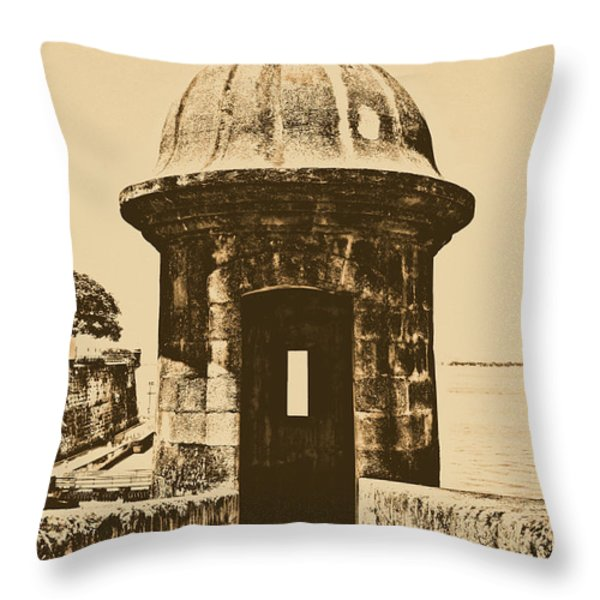 Entrance To Sentry Tower Castillo San Felipe Del Morro Fortress San Juan Puerto Rico Rustic Throw Pillow by Shawn O'Brien