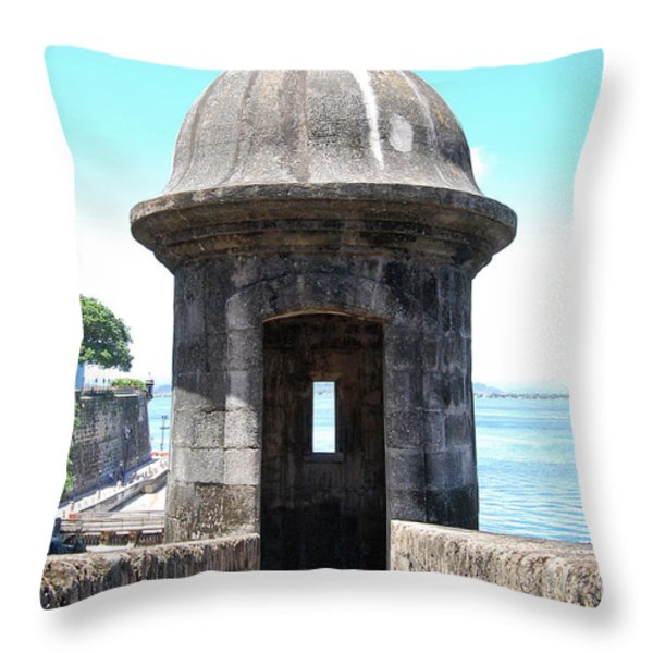 Entrance To Sentry Tower Castillo San Felipe Del Morro Fortress San Juan Puerto Rico Throw Pillow by Shawn O'Brien