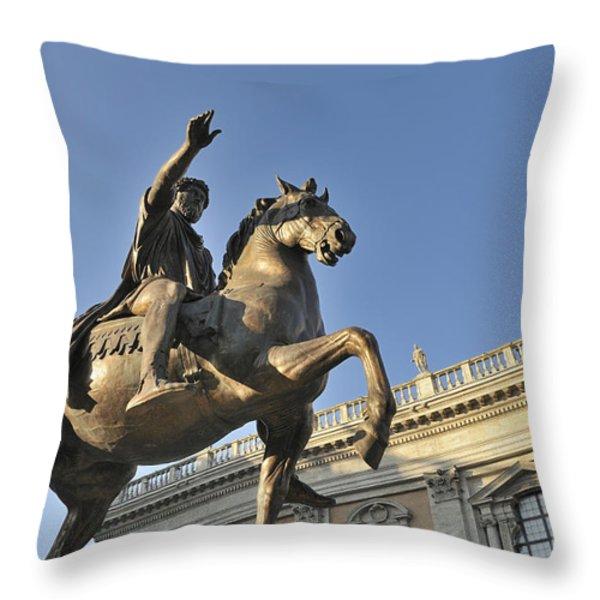 Equestrain statue of Emperor Marcus Aurelius in Piazza del Campidoglio.Capitoline Hill. Rome. Italy. Throw Pillow by BERNARD JAUBERT