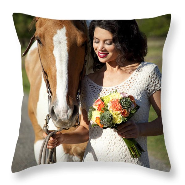 Equine Companion Throw Pillow by Sri Maiava Rusden