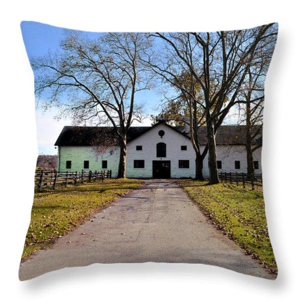 Erdenheim Farm Equestrian Stable Throw Pillow by Bill Cannon