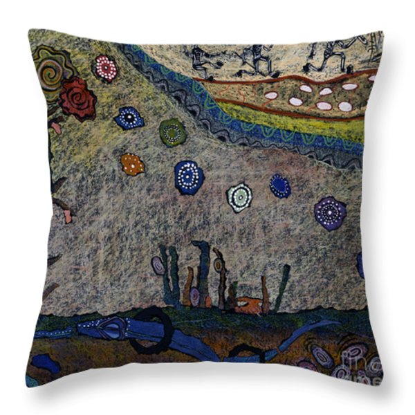 Escaping Death Throw Pillow by Pat Saunders-White