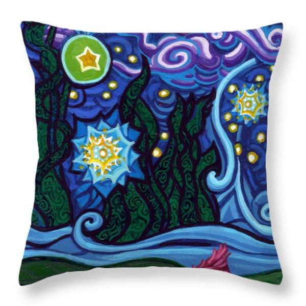 Etoile Noire Bleu Throw Pillow by Genevieve Esson