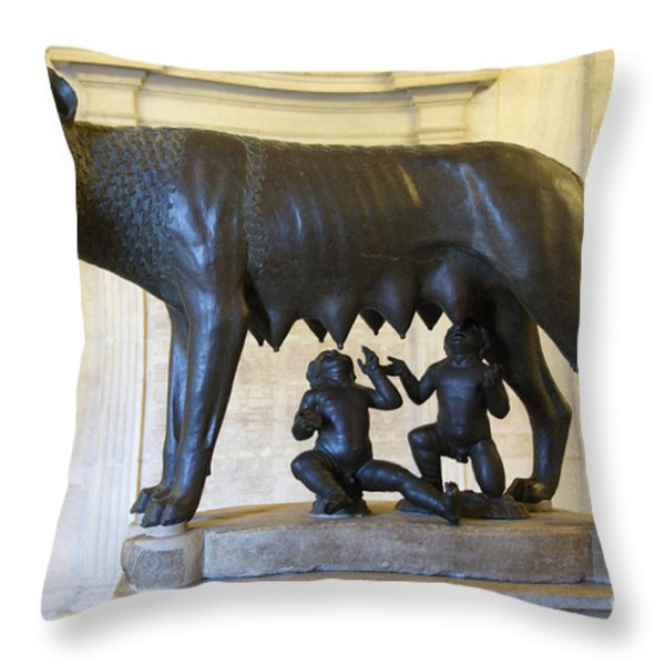 Etruscan bronze statue of the she-wolf with Romulus and Remus. Capitoline Museum. Capitoline Hill. R Throw Pillow by BERNARD JAUBERT