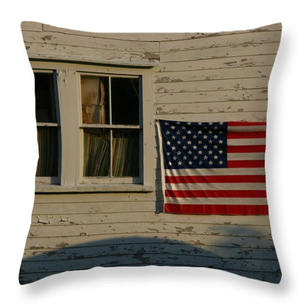 Evening Light On An American Flag Throw Pillow by Stephen St. John