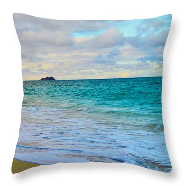 Evening on the Beach Throw Pillow by Cheryl Young