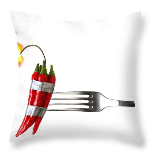 Explosive Food Throw Pillow by Carlos Caetano