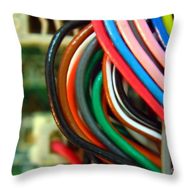 Extreme Closeup of Motherboard and Cables Throw Pillow by Yali Shi
