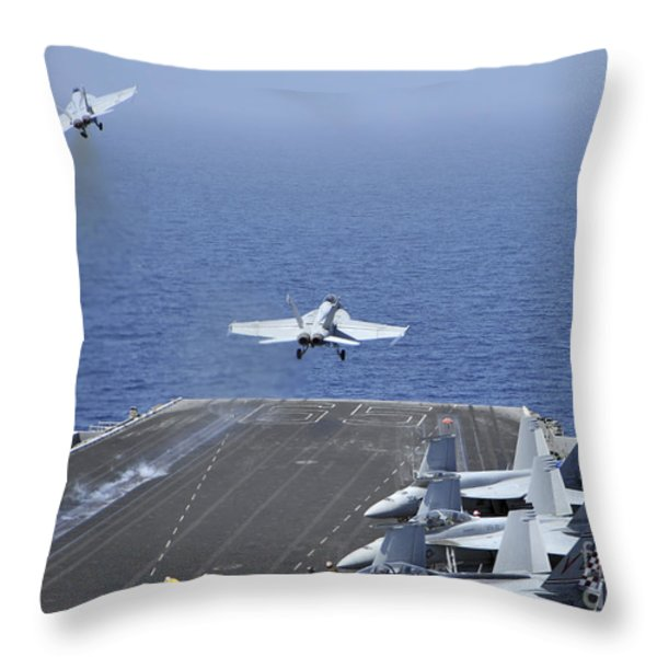 Fa-18f Super Hornets Launch Throw Pillow by Stocktrek Images