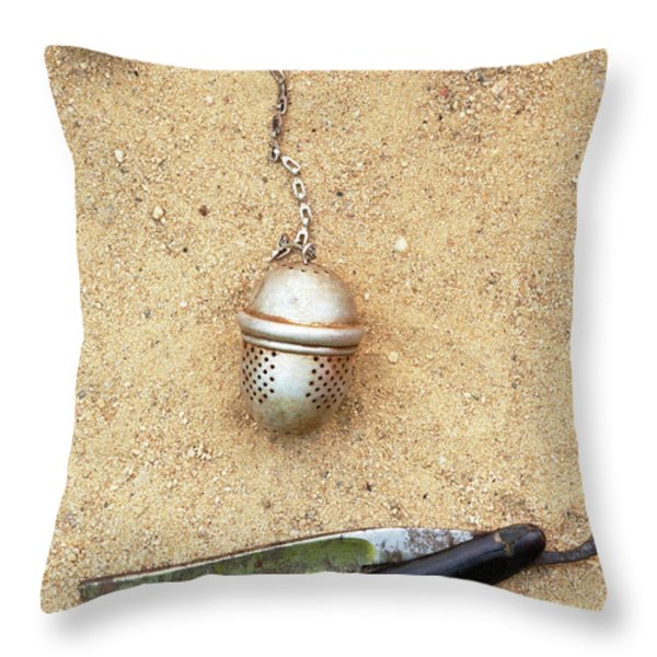 face on the sand Throw Pillow by Michal Boubin