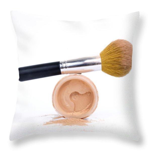 Face powder and make-up brush Throw Pillow by BERNARD JAUBERT