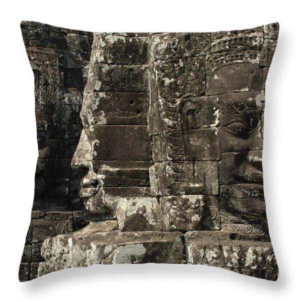 Faces Of Banyon Angkor Wat Cambodia Throw Pillow by Bob Christopher
